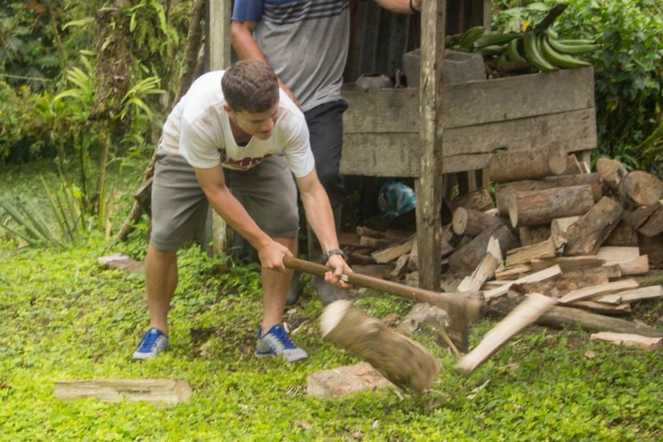 Splitting Wood for fuel on ARCC's Costa Rica summer service program