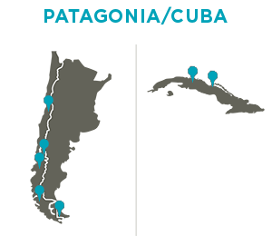 ARCC Spring Semester Gap Programs in Patagonia & Cuba - Map