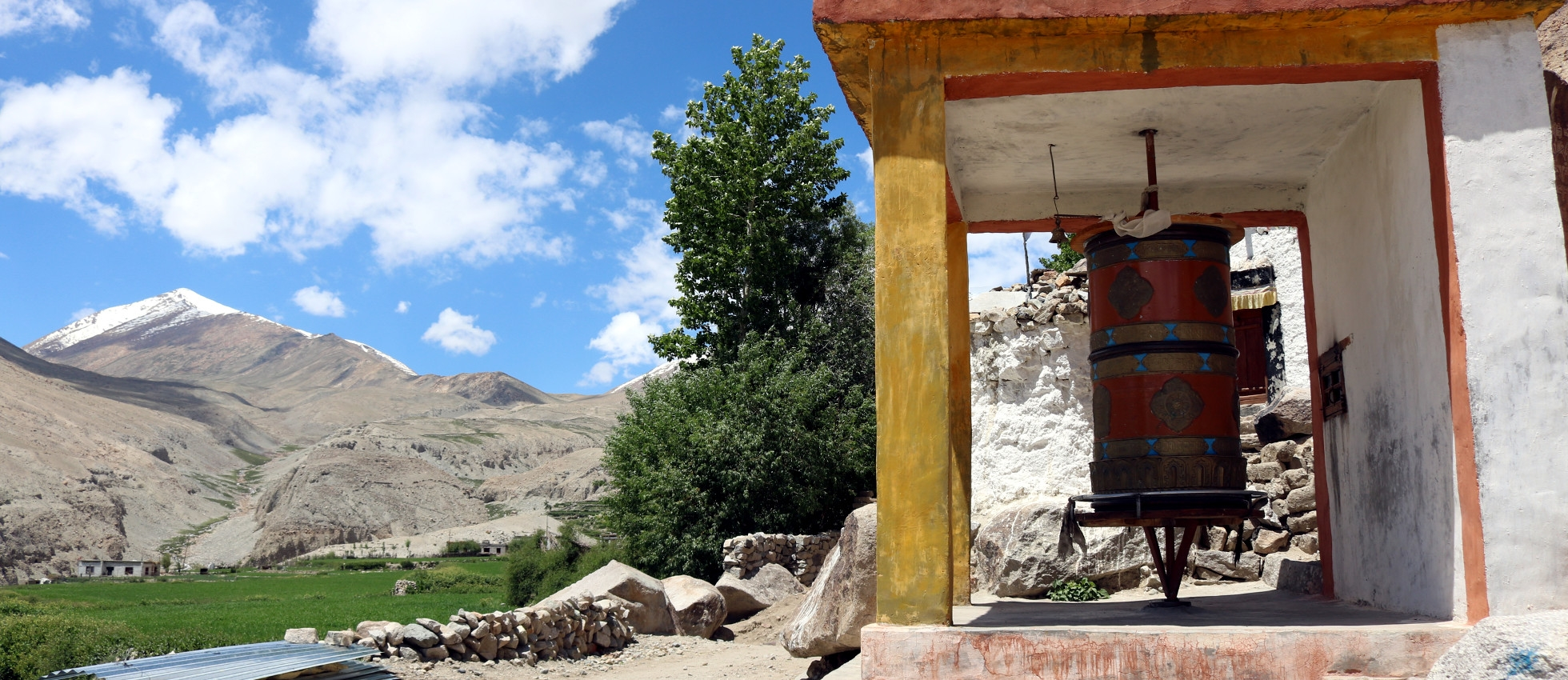 A prayer wheel in Ladakh, India