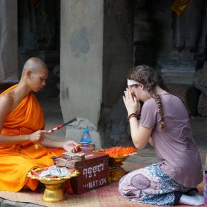 Southeast Asia - Student Getting Blessed by Buddhist Monk_Credit Grace Crema