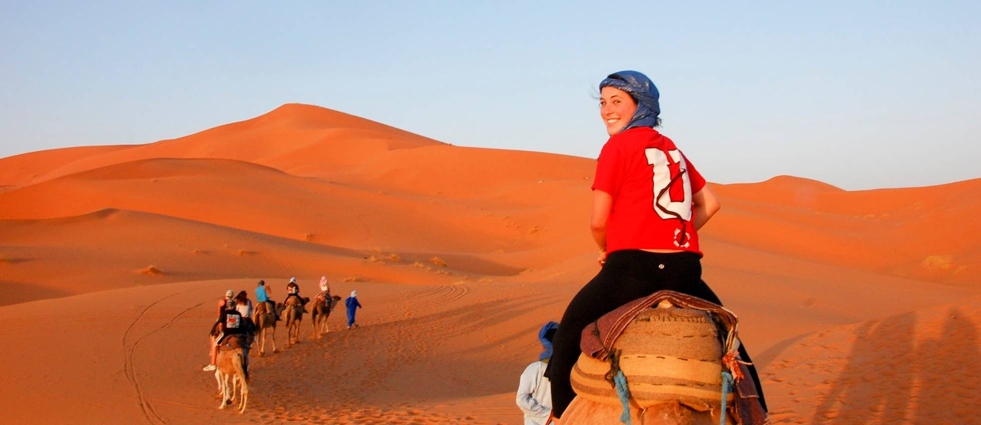 Riding Camels in The Moroccan Desert
